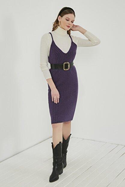 Sateen Kadın Mor Midi Askılı Triko Elbise  STN220TR338