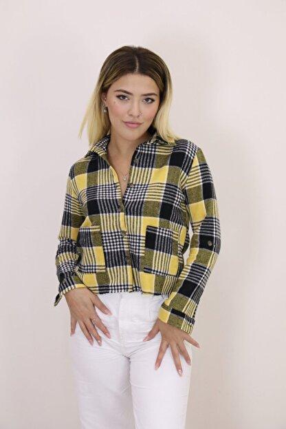 LIPSTICK Kadın Sarı Ekose Gömlek