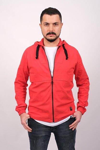 GAMBA Erkek Kırmızı Kapüşonlu Fermuarlı Sweatshirt