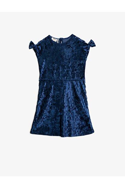 Koton Kız Çocuk Mavi Kisa Kollu Fiyonklu Kadife Elbise
