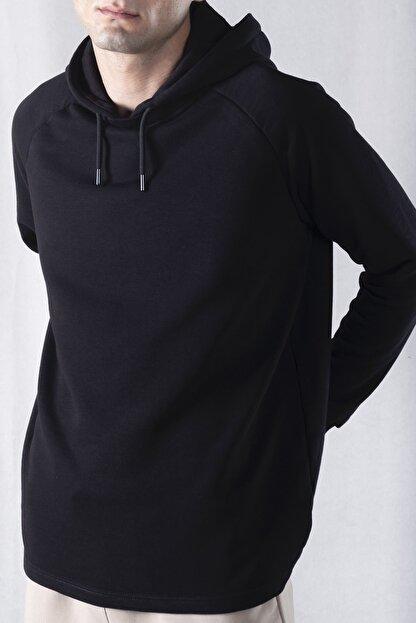 tinbasic Kapşonlu %100 Pamuk Örme Erkek Sweatshirt Hoodie - Siyah
