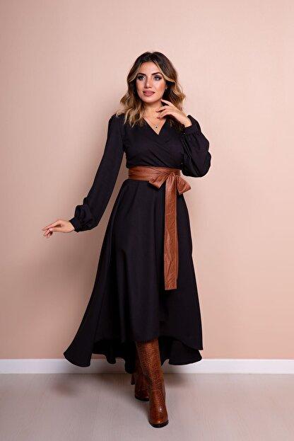 Bidoluelbise Kadın Siyah Taba Deri Kemerli Uzun Kol Asimetrik Kesim Elbise