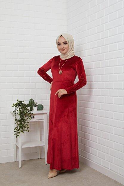 MODA STORE Kadın Bordo Kolyeli Kadife Tesettür Elbise 5473