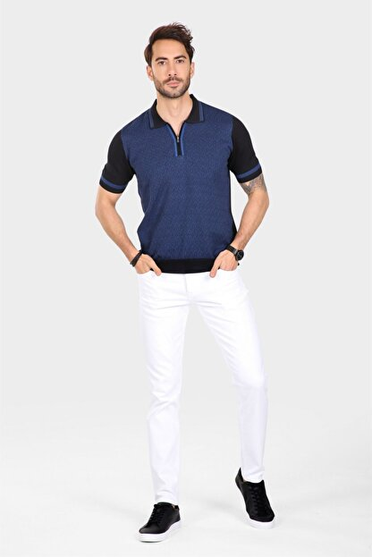 Ferraro Erkek Siyah  Desenli Yakası Çizgili Polo Yaka Triko T-shirt