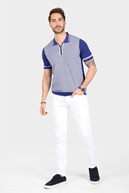 Ferraro Erkek Mavi Desenli Yakası Çizgili Polo Yaka Triko T shirt
