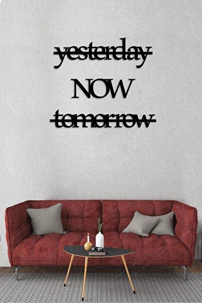 Alfanua Ingilizce Zaman Harfli Ahşap Mdf Dekoratif Tablo - Dekoratif Duvar Yazısı - Yesterday Now Tomorrow