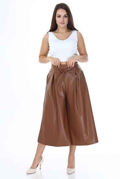 Beril Etek Kadın Camel Bol Paça Pileli Deri Pantolon
