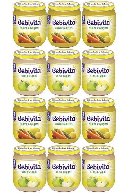 Bebivita Kavanoz Maması Karma Koli 12 Li Set (sebze Karışımı- Elma Püresi)