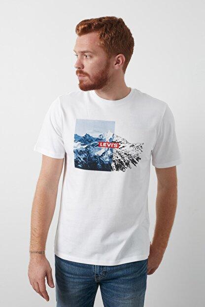 Levi's Baskılı Bisiklet Yaka % 100 Pamuk T Shirt Erkek T Shirt 16143