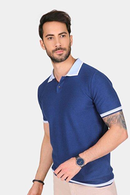 Ferraro Erkek Mavi Yaka Detaylı Pike Örgülü Polo Yaka Düğmeli Triko T-shirt