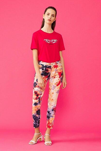 adL Kadın Kırmızı Batik Pantolon 15338765000206