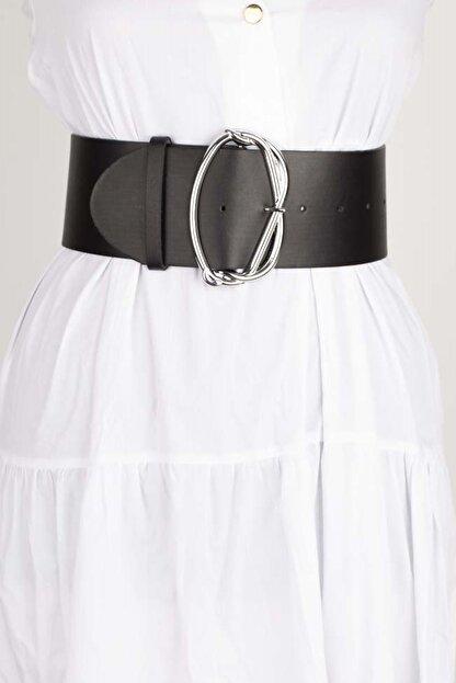 Versla Kadın Siyah Gümüş Tokalı Kemer
