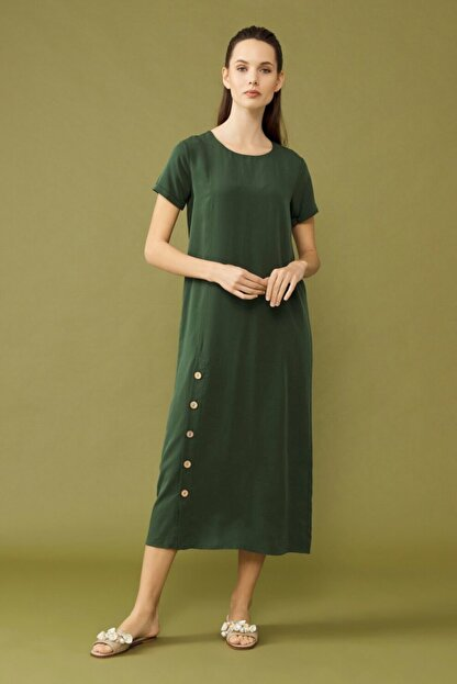 adL Kadın Yeşil Yırtmaçlı Elbise