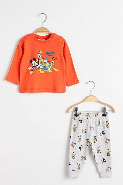 LC Waikiki Mickey Mouse Erkek Bebek Turuncu Mzz Pijama Takımı