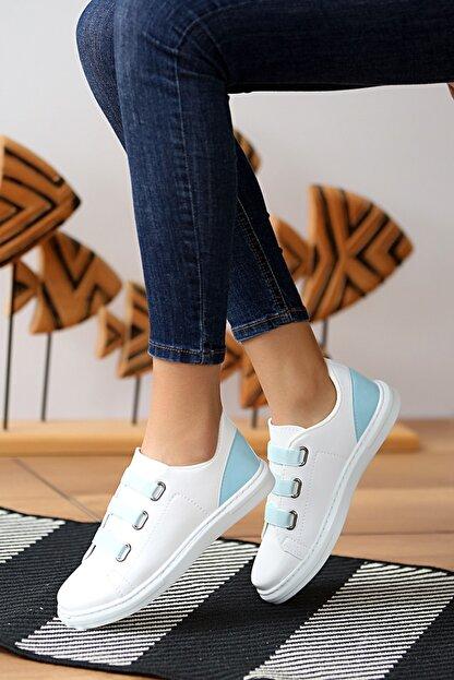 Pembe Potin Kadın Beyaz Mavi Ayakkabı