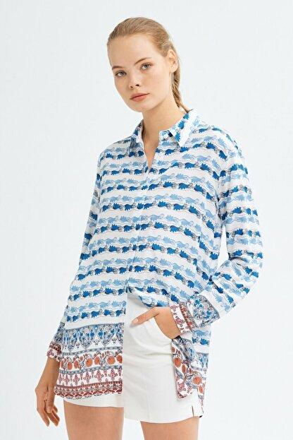 adL Kadın Mavi Uzun Kollu Gömlek