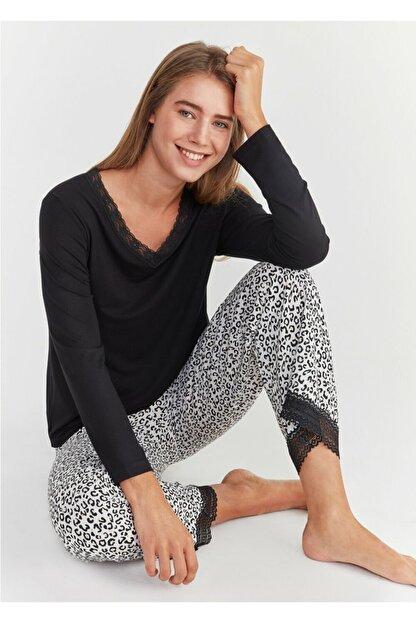 Suwen Kadın Leopar Baskılı Leo Pijama Takımı
