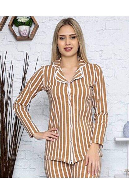 PİJABOOM Kadın Pijama Takımı Düğmeli Açık Kahve Rengi Çizgili Uzun Kol