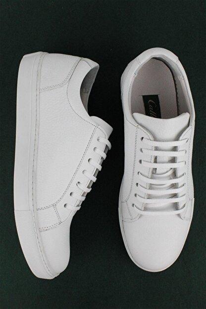 CZ London Erkek Beyaz Hakiki Deri Sneaker Spor Ayakkabı
