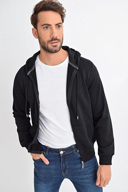 Tena Moda Erkek Siyah Kapüşonlu Fermuarlı Basic Sweatshirt