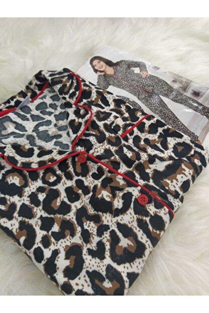 PİJABOOM Kadın Leopar Desenli Düğmeli Uzun Kol Süet Pijama Takımı