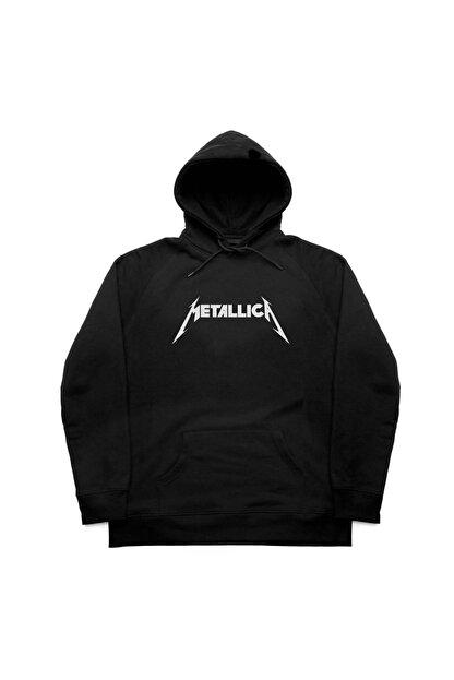 Marple's Unisex Siyah Metallica Kapüşonlu Sweatshirt