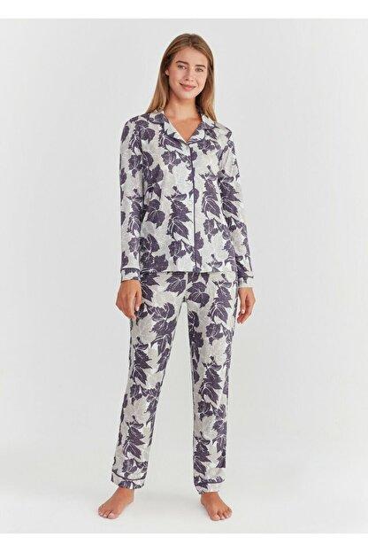 Suwen Kadın Mor Baskılı Crystal Maskulen Pijama Takımı