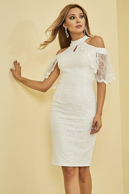 Mangoli Butik Kadın Beyaz Önü Pencere Detaylı Düşük Omuz Arkası Gizli Fermuar Kapama Astarlı Dantel Elbise