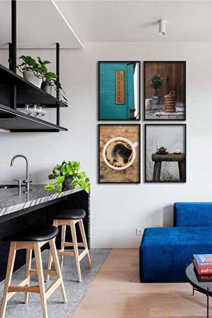 VN Home 4 Parça Çerçeveli Mutfak Tablo Seti