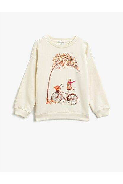 Koton Kız Çocuk Ekru Organik Pamuklu Baskılı Bisiklet Yaka Uzun Kollu Sweatshirt
