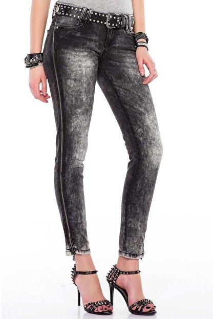 Cipo&Baxx Kadın Siyah Fermuar Detaylı Yıkamalı Pantolon
