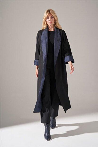 Mizalle Kadın Siyah Denim Şal Yaka  Kimono