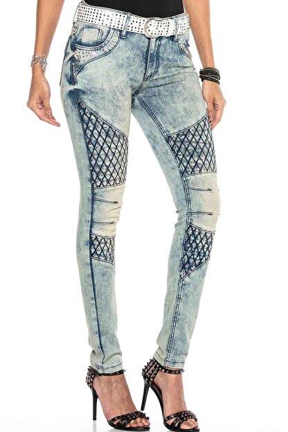 Cipo&Baxx Kadın Mavi Taşlı Nakışlı Skinny Kot Pantolon