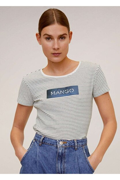 Mango Kadın Lacivert Pamuklu Logolu Tişört 67000604