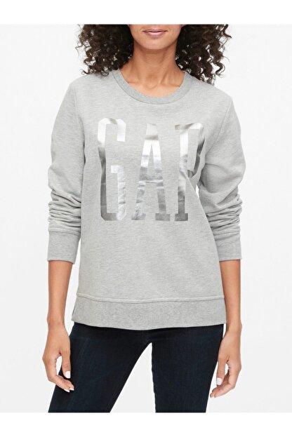 GAP Kadın Gri Logo Yuvarlak Yaka Sweatshirt