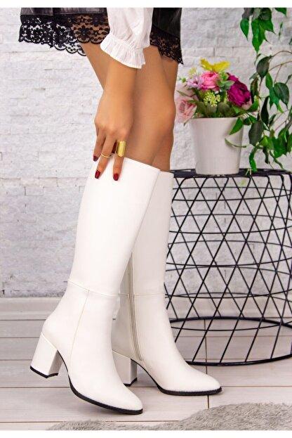 LUKKA Kadın Beyaz Deri Cilt Sivri Çizme