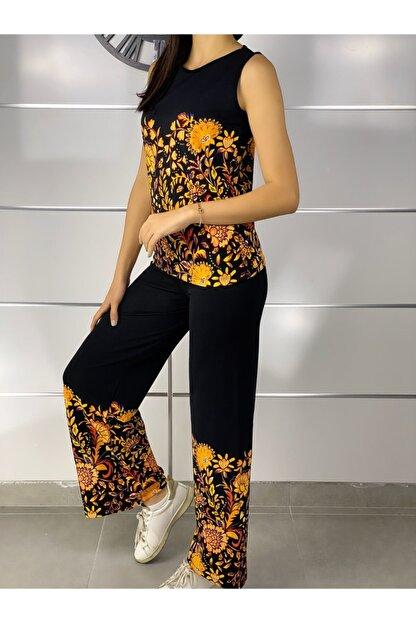 ELBİSENN Kadın Siyah Kolsuz Bluz Pantolon Ikili Takım