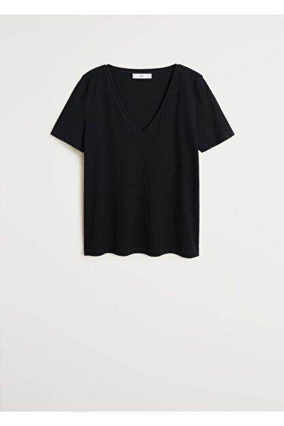 Mango Kadın Siyah V Yakalı Pamuklu Tişört 67084384