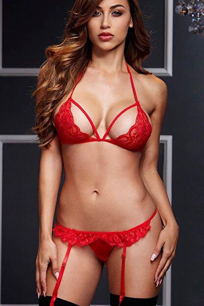 Merry See Kadın Kırmızı Dantel Jartiyer Takım ve Çorap