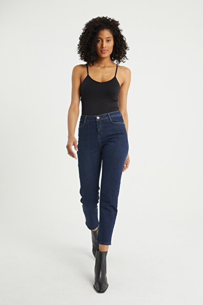 BOSHETTI Kadın Indigo Yüksel Bel Mom Slim Fit Jeans