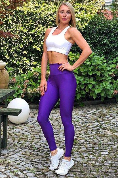 Alışveriş Sokağı Kadın Mor Scrunch Butt Leggings Arkası Büzgülü Yüksek Bel Spor Tayt