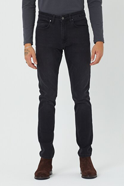 BOSHETTI Erkek Koyu Füme Slim Fit Essentials Jean