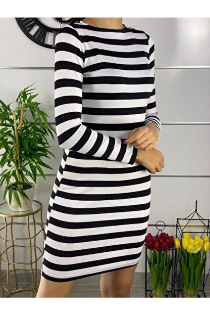 ELBİSENN Kadın Siyah Beyaz Çizgili Mini Basic Elbise