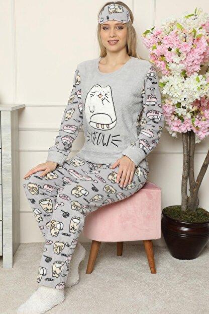 Pijamaevi Big Cat Desenli Kadın Peluş Pijama Takımı
