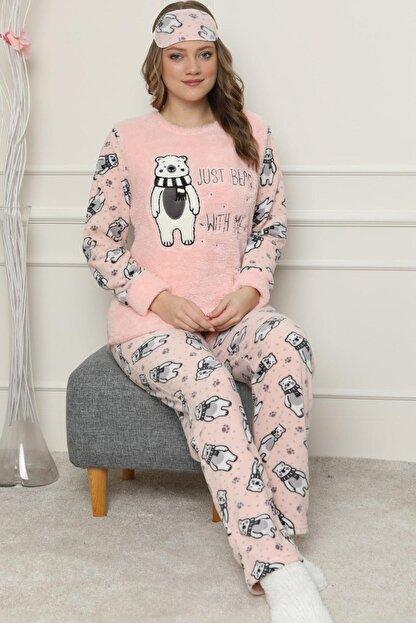 Pijamaevi Just Bear Desenli Kadın Peluş Pijama Takımı