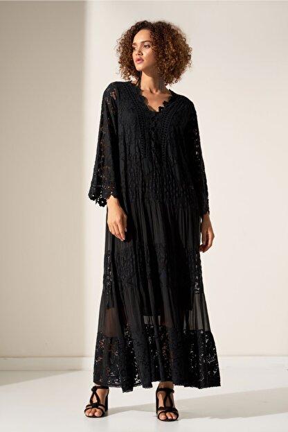 Camena Kadın Siyah Dantel Detaylı Elbise 2019070500176