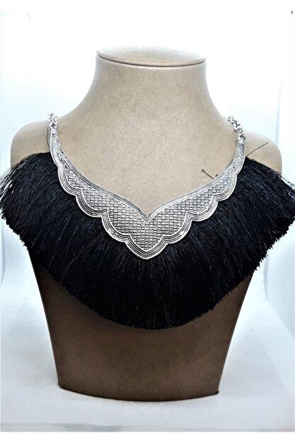 Sln Gümüş Siyah Püskül Modelli Kolye
