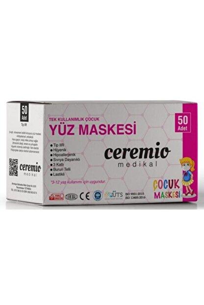 Ceremio 50 Adet Meltblown'lu Kız Çocuk 3 Katlı Full Ultrasonik Geniş Lastikli Burun Telli Yüz Maskesi