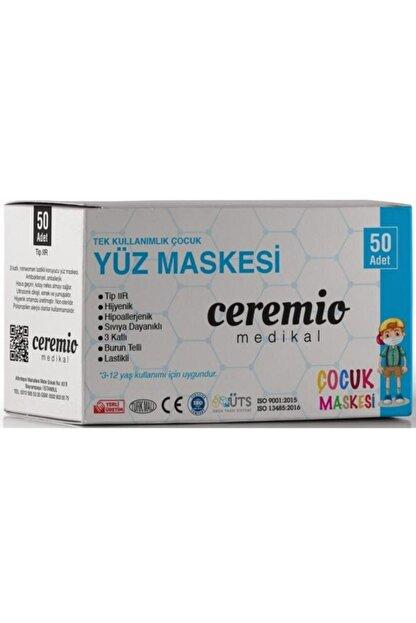 Ceremio 50 Adet Meltblown'lu Erkek Çocuk 3 Katlı Full Ultrasonik Geniş Lastikli Burun Telli Yüz Maskesi