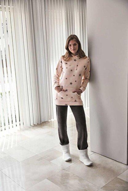 Anıl Kadın Pembe Kışlık Polar Kapüşonlu Sweatshirt Pijama Takım 9558